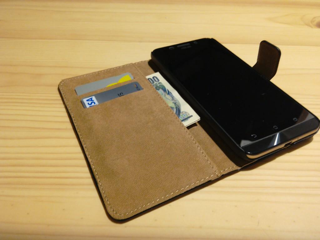 Zenfone Maxケースにカードを入れる
