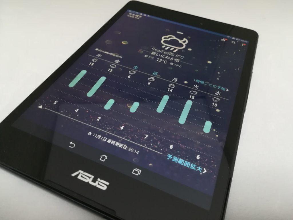 ZenPad 3 8.0 天気予報の画面