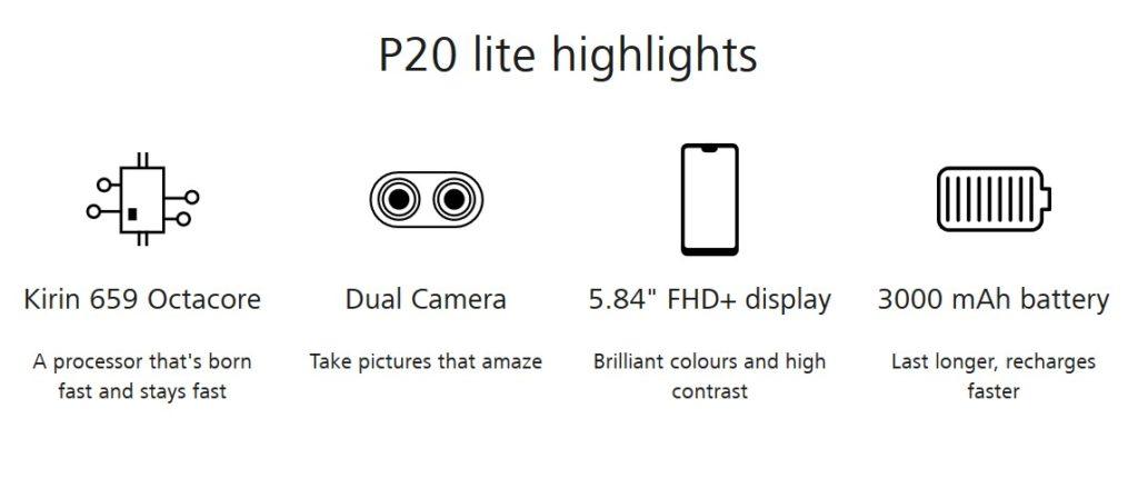 P20 lite のハイライト(出典:HUAWEI公式サイトより)