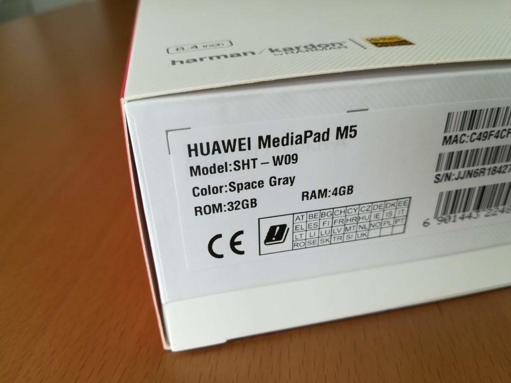 HUAWEI MediaPad M5の外箱の側面