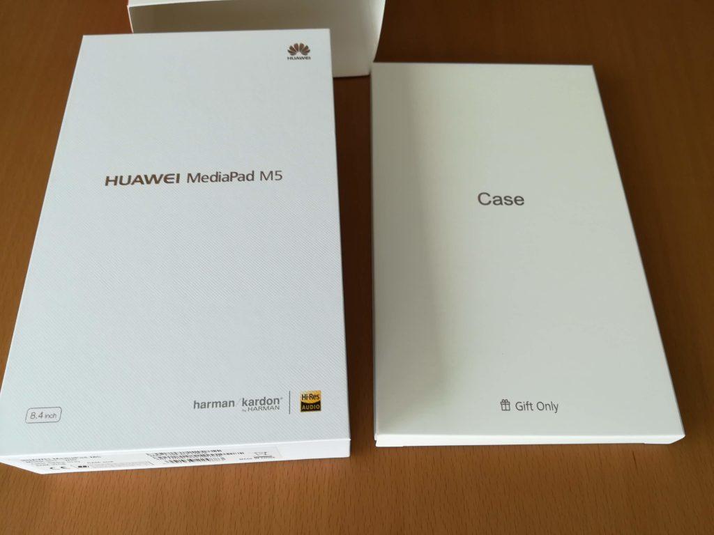 MediaPad M5の本体とケースの箱