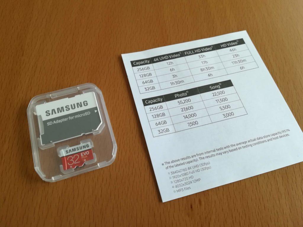microSDカードと説明書が