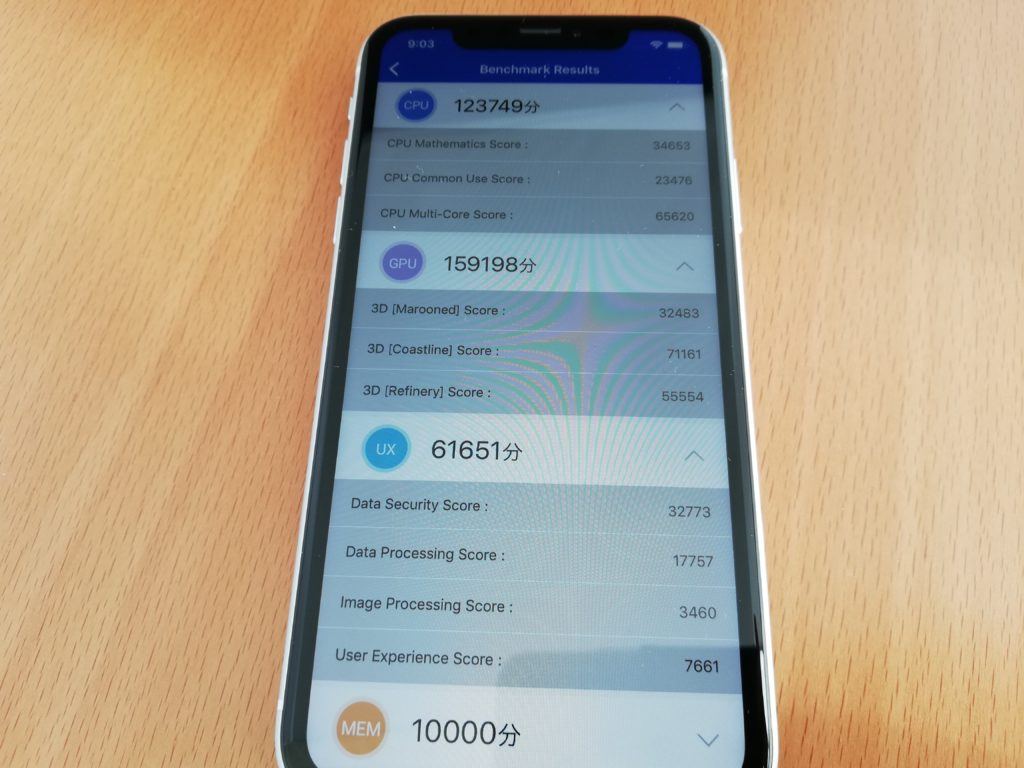 iPhone XRのAntutuベンチマーク結果