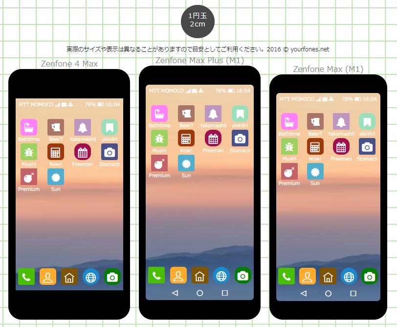 Zenfone Maxシリーズの画面イメージを比較