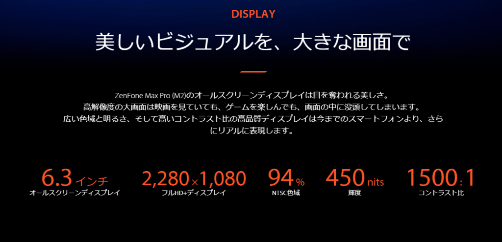 Zenfone Max Pro M2のディスプレイ(出典:ASUS公式サイトより)