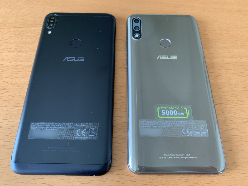 Zenfone Max Pro M1(左)とPro M2