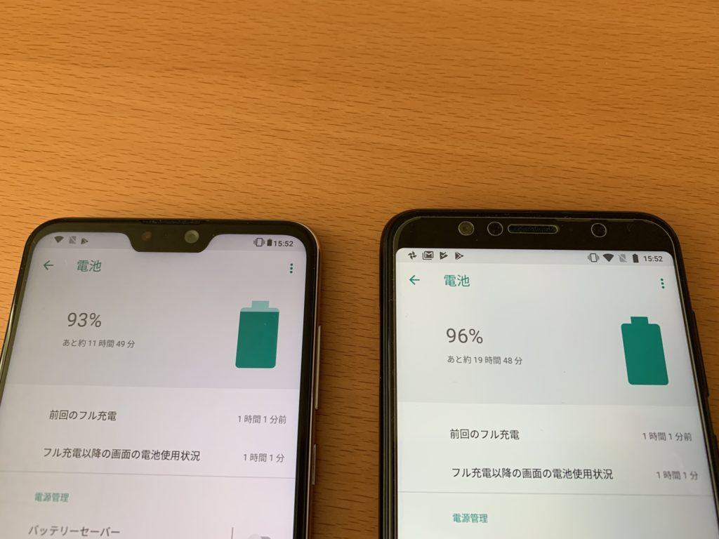 Zenfone Max Pro M2とM1のバッテリー持ちを比較