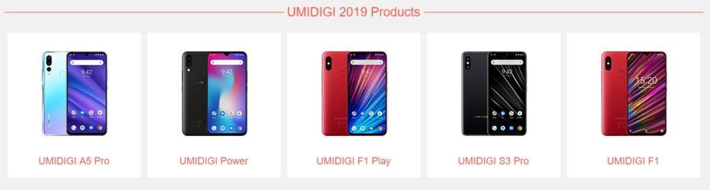 2019に発売されたUMIDIGIのスマホ(出典:UMIDIGI公式サイト)