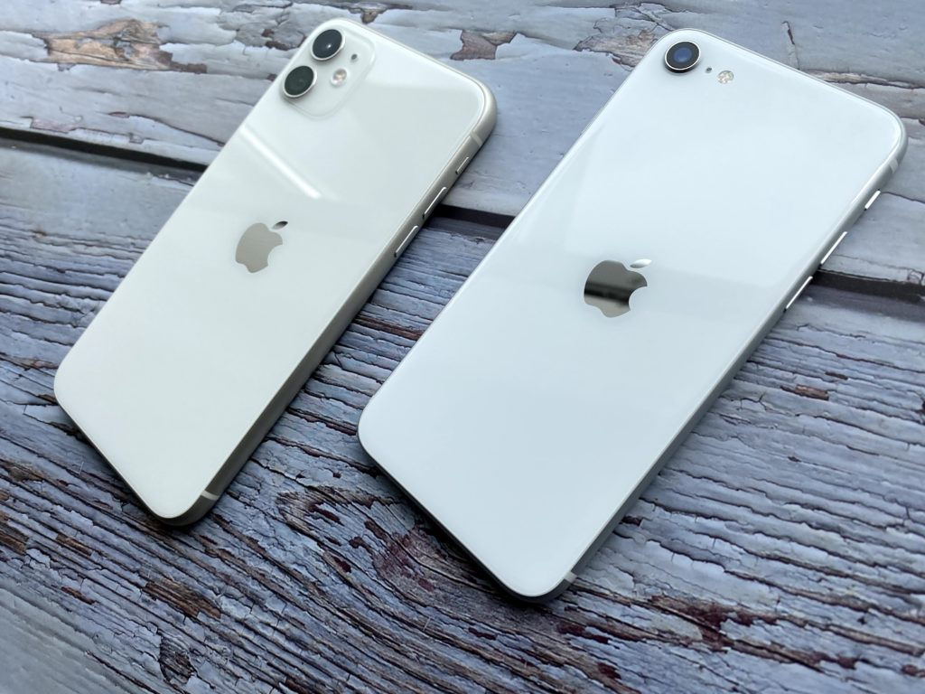 iPhone 11とiPhone SEホワイトをよーく比べてみよう