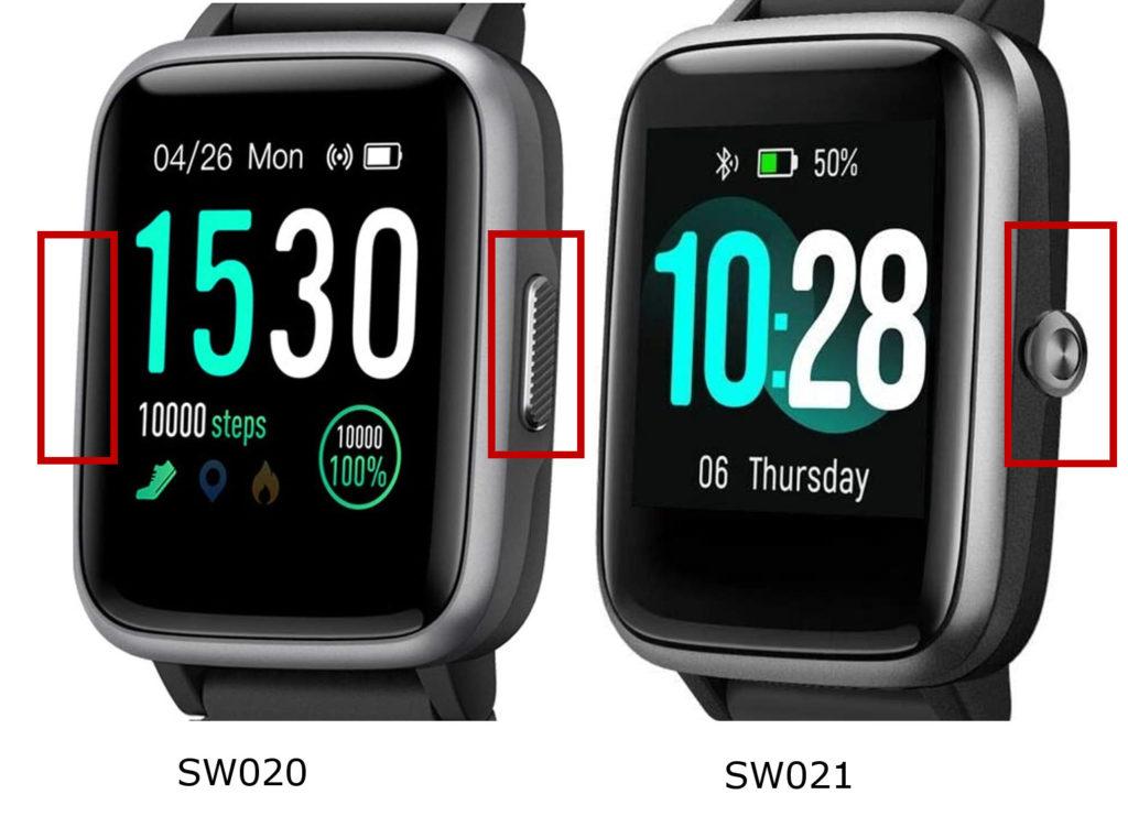 SW020とSW021はボタンの数と形状が違う