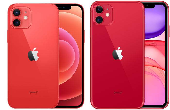 iPhone12とiPhone12のPRODUCT REDカラーを比較